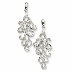 Cheryl M. CollectionSterling Silver CZ Fancy Dangle Post Earrings