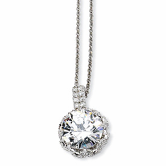 Cheryl M. Sterling Silver Round CZ 18in Necklace