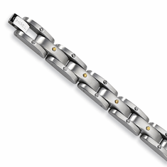 Chisel Stainless Steel Men's Bracelet with 24k gold plated accents