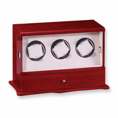 Choose A Black, Dark Maple, Dark Burlwood, Blonde Burlwood or Cherry Matte Finish Vertical Triple  Watch Winder