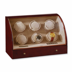 Dark Burlwood Gloss Finish 6-Watch Watch Winder