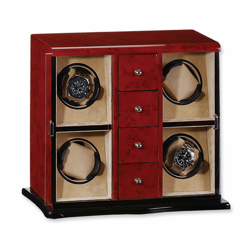 Dark Burlwood Gloss Finish Vertical 4-Watch Watch Winder