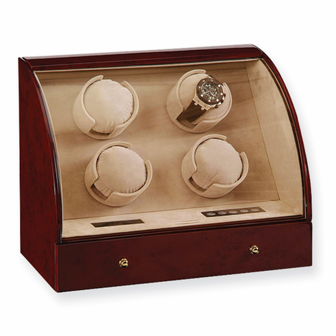 Dark Burlwood or Ebony Gloss Finish Triple Watch Winder