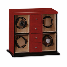 Dark Maple Gloss Finish Vertical 4-Watch Watch Winder