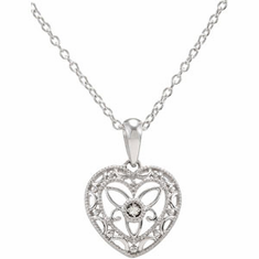 DIAMOND HEART Sterling Silver NECKLACE, 18 INCH