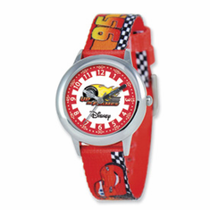 Disney Cars Flame Printed Fabric Band Time Teacher Watch
