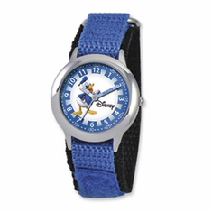 Disney Kids Donald Duck Blue Velcro Band Time Teacher Watch