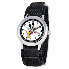 Disney Kids Mickey Mouse Black Velcro Band Time Teacher Watch