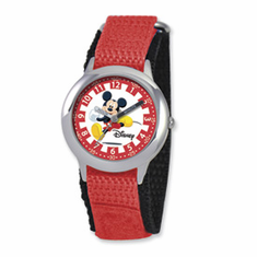Disney Kids Mickey Mouse Red Velcro Band Time Teacher Watch