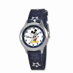 Disney Kids Mickey Mouse Stars Fabric Band Time Teacher Watch