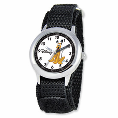 Disney Kids Pluto Black Velcro Band Time Teacher Watch