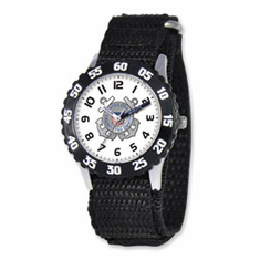 Disney Military Kids Coast Guard Black Velcro Band Time Teacher Watch