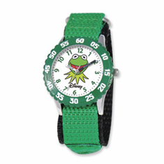 Disney Muppets Kids Kermit Green Velcro Band Time Teacher Watch