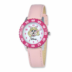 Disney Muppets Kids Miss Piggy Pink Leather Band Time Teacher Watch