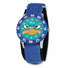 Disney Phineas & Ferb Kids Perry Blue Velcro Band Time Teacher Watch