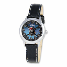 Disney Pirates of Caribbean Kids Black Leather Band Time Teacher Watch
