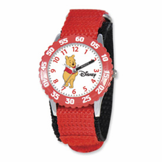 Disney Pooh & Friends Winnie Red Velcro Band Time Teacher Watch