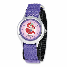 Disney Princess Kids Ariel Purple Velcro Band Time Teacher Watch