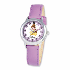 Disney Princess Kids Belle Purple Leather Band Time Teacher Watch