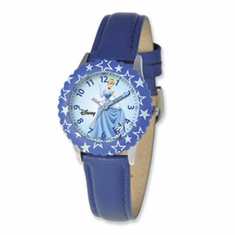 Disney Princess Kids Cinderella Blue Leather Band Time Teacher Watch