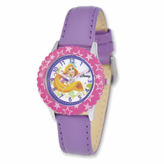 Disney Princess Kids Rapunzel Purple Leather Band Time Teacher Watch