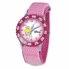 Disney Tinker Bell Dreamland Pink Velcro Band Time Teacher Watch