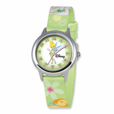 Disney Tinker Bell Dreamland Printed Fabric Band Time Teacher Watch