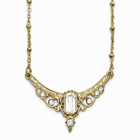 Downton Abbey Clear Crystal And Glass With 3in Ext Necklace
