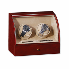 Gloss Finish Double Watch Winder Available in Dark Maple, Ebony, and Dark Burlwood