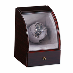 Glossy Finish Single Watch Winder Available in Ebony, Dark Maple and Dark Burlwood Finish