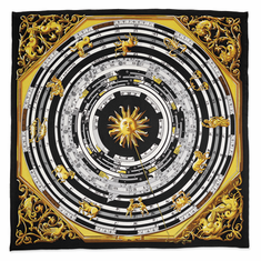 Jackie Kennedy Black Zodiac Handmade Silk 35in Fashion Scarf by Camrose and Kross