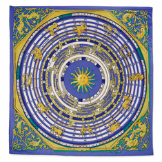 Jackie Kennedy Blue Zodiac Handmade Silk 35in Fashion Scarf by Camrose and Kross