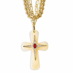 Jackie Kennedy Gold-plated Agate and Swarovski Crystal 39.5in w/3in ext Brazilian by Camrose and Kross