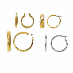 Jackie Kennedy Gold-plated and Rhodium-plated 4 Pair Set of Hoop Earrings