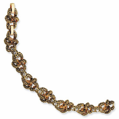 Jackie Kennedy Gold-plated Swarovski Crystal Antiqued Lion Bracelet Reproduced by Camrose and Kross