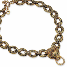 Jackie Kennedy Gold-plated Swarovski Crystal Antiqued Lion Necklace Reproduced by Camrose and Kross