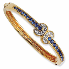 Jackie Kennedy Gold-plated Swarovski Crystal Blue Love Knot 7In Bangle
