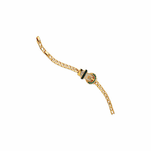 Jackie Kennedy Gold-plated Swarovski Crystal Green Buckle Bracelet Reproduced by Camrose and Kross