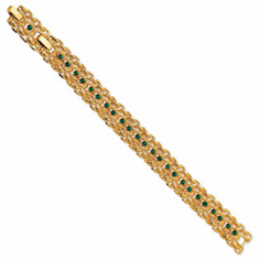 Jackie Kennedy Gold-plated Swarovski Crystal Green Rope Link Bracelet by Camrose and Kross