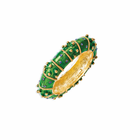 Jackie Kennedy Green Enameled Bangle by Camrose and Kross