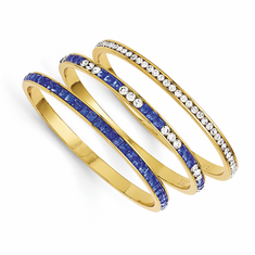 Jackie Kennedy Set of Three Blue & White Swarovski Crystal Bangles by Camrose and Kross