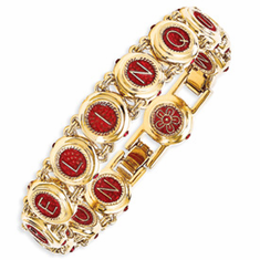 Kennedy Gold-plated Enameled Swarovski Crystal Castellani Wedding Bracelet
