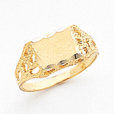 Ladies 14K Gold Nugget Style  SIGNET RING