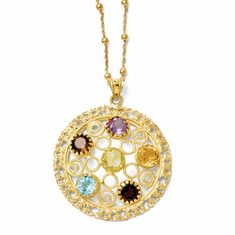 Leslie's Sterling Silver Gold-Tone 18k Flash Gemstone Necklace