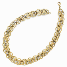 Leslies 14k Two-Tone Polished Fancy Link Necklace