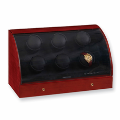 Mahogany Solid Wood 6-Watch Watch Winder