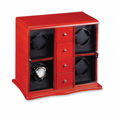 Mahogany Solid Wood Vertical 4-Watch Watch Winder