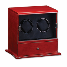 Mahogany Solid Wood Vertical Double Watch Winder