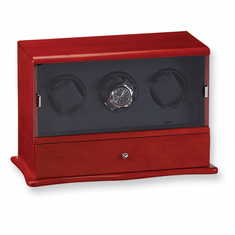 Mahogany Solid Wood Vertical Triple Watch Winder