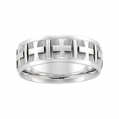 Man's 7mm Cross Pattern Comfort-Fit Band